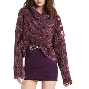 NWT Wildfox Purple Berry Distressed Rider Sweater